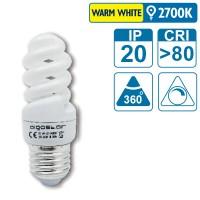 Energiespar-Leuchte mit E27 Sockel, 9 Watt (entspricht ca. 45 Watt), warmwhite