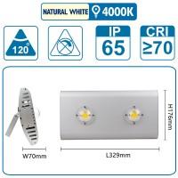 Flutlicht mit zwei COB-LEDS, 100 Watt, silber