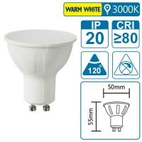LED-Leuchte mit GU10 Sockel, 6 Watt (entspricht ca. 40 Watt), warmwhite