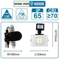 Flutlicht mit Sensor , 10 Watt, silber, mit einer COB-LED