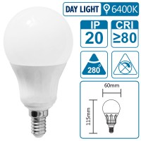 LED-Leuchte mit E14 Sockel, 6 Watt (entspricht ca. 60 Watt), daylight
