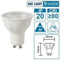 LED-Leuchte mit GU10 Sockel, 7 Watt (entspricht ca. 65 Watt), daylight, dimmbar