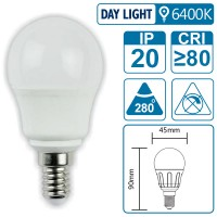 LED-Leuchte mit E14 Sockel, 5 Watt (entspricht ca. 40 Watt), daylight, big angle