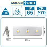 Flutlicht mit drei COB-LEDS, 150 Watt, silber