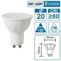 LED-Leuchte mit GU10 Sockel, 6 Watt (entspricht ca. 40 Watt), daylight