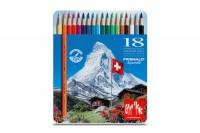 CARAN D'ACHE Farbstifte Prismalo 3mm, 999.318, 18 Farben ass.,Metallschachtel