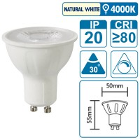 LED-Leuchte mit GU10 Sockel, 7 Watt (entspricht ca. 65 Watt), natural white, dimmbar