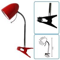 Tischlampe rot mit Klammer, exkl. Birne (E27)