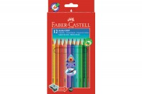 FABER-CASTELL Farbstifte Jumbo GRIP, 110912, 12 Farben, m/Spitzer